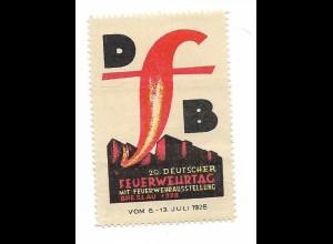 Y18286/ Alte Reklamemarke Breslau Schlesien 20. Dt. Feuerwehrtag 1928