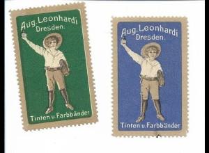 Y18284/ 2 x alte Reklamemarke Aug. Leonhardi Dresden Tinten u. Farbbänder