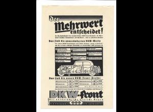 C4027/ Anzeige DKW-Front Auto-Reklame Werbung 1935