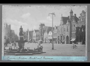 Neg5673/ Husum Markt und Brunnen altes Negativ 40/50er Jahre