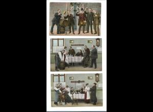 XX11960/ 3 x AK Männer trinken Bier 1910
