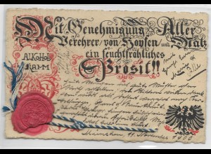 Y18520/ Bier AK mit Siegel Stempel: München
