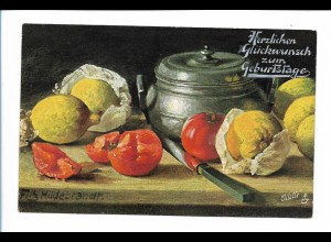 Y18516/ Stilleben Tomaten Zitronen Geburtstag Tuck`s AK 1911