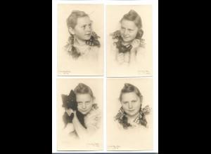 Y18624/ 4 x Foto AK Mädchen Fotograf: Milly Otto 1947