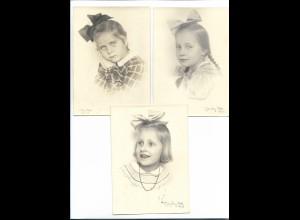 Y18626/ 3 x Foto AK Mädchen Fotograf: Milly Otto 1943