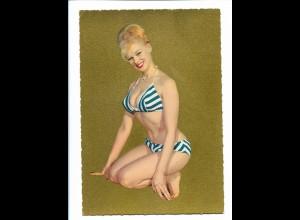 Y18654/ Erotik Frau Bikini Golddruck Krüger AK ca.1965