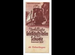 C4047/ Schweiz Bundesbahnen, Reise in die Schweiz - Sommer 1937 Faltblatt