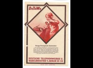 C4044/ DeTeWe Deutsche Telefonwerke Berlin altes Faltblatt Reklame ca.1930