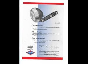 C4041/ MELAS Fahrrad Scheinwerfer altes Werbeblatt 20,5 x 14,5 cm Reklame