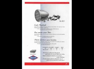 C4038/ MELAS Fahrrad Rücklicht altes Werbeblatt 20,5 x 14,5 cm Reklame