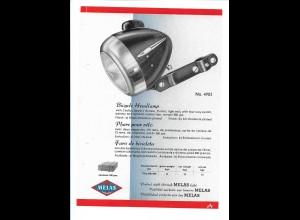 C4037/ MELAS Fahrrad Scheinwerfer altes Werbeblatt 20,5 x 14,5 cm Reklame