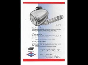 C4036/ MELAS Fahrrad Scheinwerfer altes Werbeblatt 20,5 x 14,5 cm Reklame