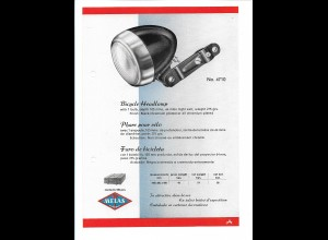 C4034/ MELAS Fahrrad Lampe altes Werbeblatt 20,5 x 14,5 cm Reklame