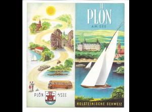 C4087/ Plön am See Faltprospekt + Unterkunfts-Verzeichnis ca.1955-60