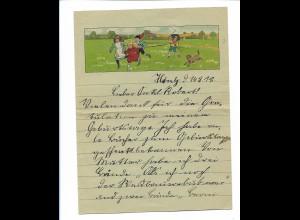 Y18774/ Litho Brief Kinder mit Hund 1918