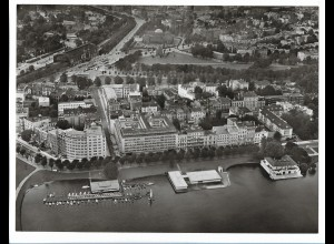 C4151/ Hamburg Kontorhäuser a.d. Alster Luftaufnahme 60er 24 x 18 cm