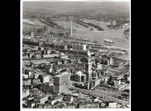C4147/ Hamburg Michel, Ost-West-Str. Hafen Luftaufnahme 1963 21 x 21 cm