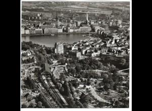 C4146/ Hamburg Dammthor-Bahnhof Alster Luftaufnahme 1963 21 x 21 cm