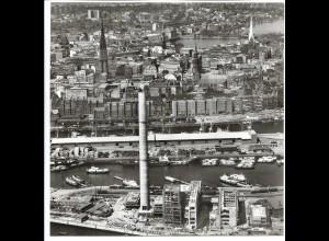 C4142/ Hamburg Kraftwerk-Hafen Freihafen Luftaufnahme 1963 21 x 21 cm