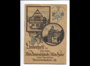 Y18831/ Liederheft der histor. Alten Bauernschänke in Assmannshausen ca.1930