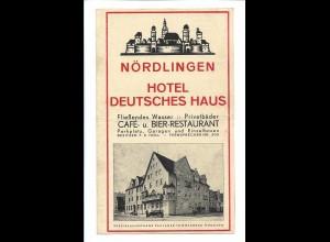 C4209/ Nördlingen Hotel Deutsches Haus ca.1930 Faltblatt