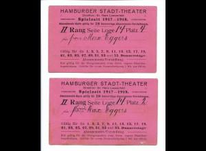 Y18829/ 2 x Eintrittskarte Hamburger Stadt-Theater 1917-18