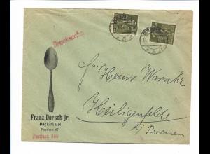C4293/ Brief Franz Dorsch, Löffel, Besteck Bremen 1923