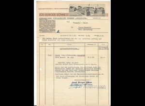C4201/ Rechnung Jos. Burger Söhne, Schonach Uhren- Metallwarenfabrik 1946