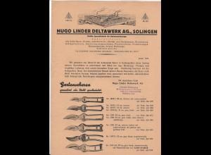 C4245/ Hugo Linder Deltawerk Solingen, Preisliste 8 Seiten 1937 Werbung