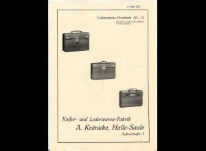 C4244/ A. Kränicke, Halle a.S. Koffer- und Lederwarenfabrik Preisliste 1935