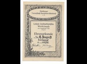 C4242/ Hamburg Turnerschaft Barmbek-Uhlenhorst Urkunde 1920 Leichtathelitk