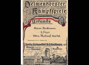 C4240/ Delmenhorst Kampfspiele Urkunde 1924 Dt. Reichsausschuß für Leibesübungen