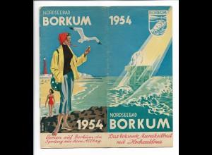 C4237/ Borkum 1954 Prospekt 12 Seiten mit Abbildungen