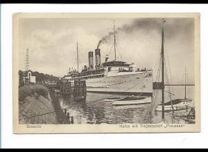 V1627/ Sassnitz Hafen mit Trajektschiff Preußen AK ca.1925