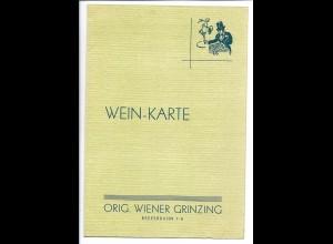 C4269/ Weinkarte Hamburg St. Pauli Orig. Wiener Grinzing ca.1935 Speisekarte