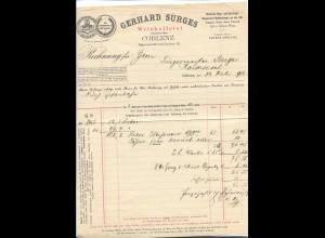 C4288/ Rechnung Gerhard Surges Weinkellerei Koblenz 1901