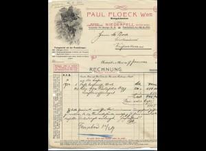 C4287/ Rechnung Floeck Wwe. Weingut, Niederfell a.d. Mosel 1919