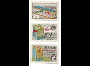 Y18838/ 3 x Reklamemarke J. F. Schüle Eierteigwaren, Plüderhausen ca.1910