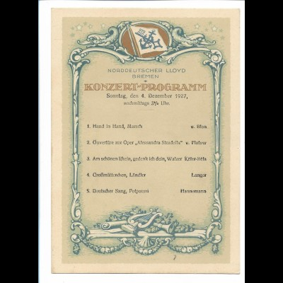 C4278/ Norddeutscher Lloyd Bremen Konzert-Programm 4.12.1927