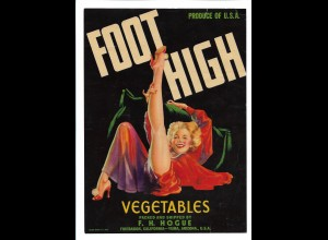 C4281/ Foot High - Vegetables F. H. House USA Werblatt 24,5 x 18 cm Pin Up 40er