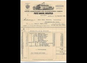 C3515/ Rechnung Bielefeld Fritz Rahde, Kakao, Schokoladen-Fabrik 1925