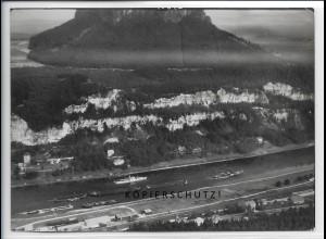 ZZ-5045/ Lilienstein Elbe Foto seltenes Luftbild 1938 18 x 13 cm