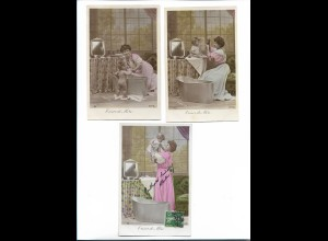 Y19010/ 3 x Foto AK Cresor de Mere, Photo Sazerac Mutter badet Kind 1909