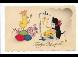 Y19002/ Ostern Katze malt ein Küken schöne AK Glimmer 1941