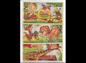 C4290/ 3 x AK mit Kunstoffaugen Format 19 x 11cm 50er Jahre Kinder Hunde Giraffe