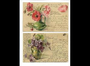 Y19035/ 2 x AK Blumen - Herzlichen Segenswunsch zum Neuen Jahr Litho 1906