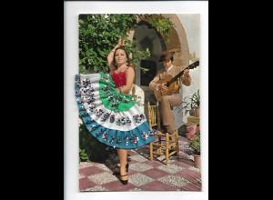 Y19034/ Spanien Tanzen Flamenco bestickte Seide AK Tänzerin