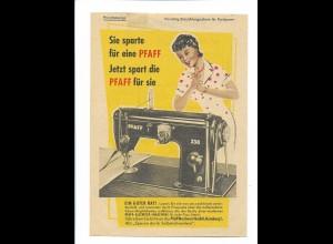 Y19024/ Pfaff Nähmaschinen Werbung Einzahlungsschein für das Postsparbuch 1954