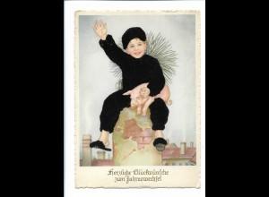 XX13686/ Neujahr Kind als Schornsteinfeger Filz aufgeklebt AK 1955