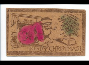 XX13978/ Lederkarte AK aus Leder Weihnachtsmann Merry Christmas ca.1910